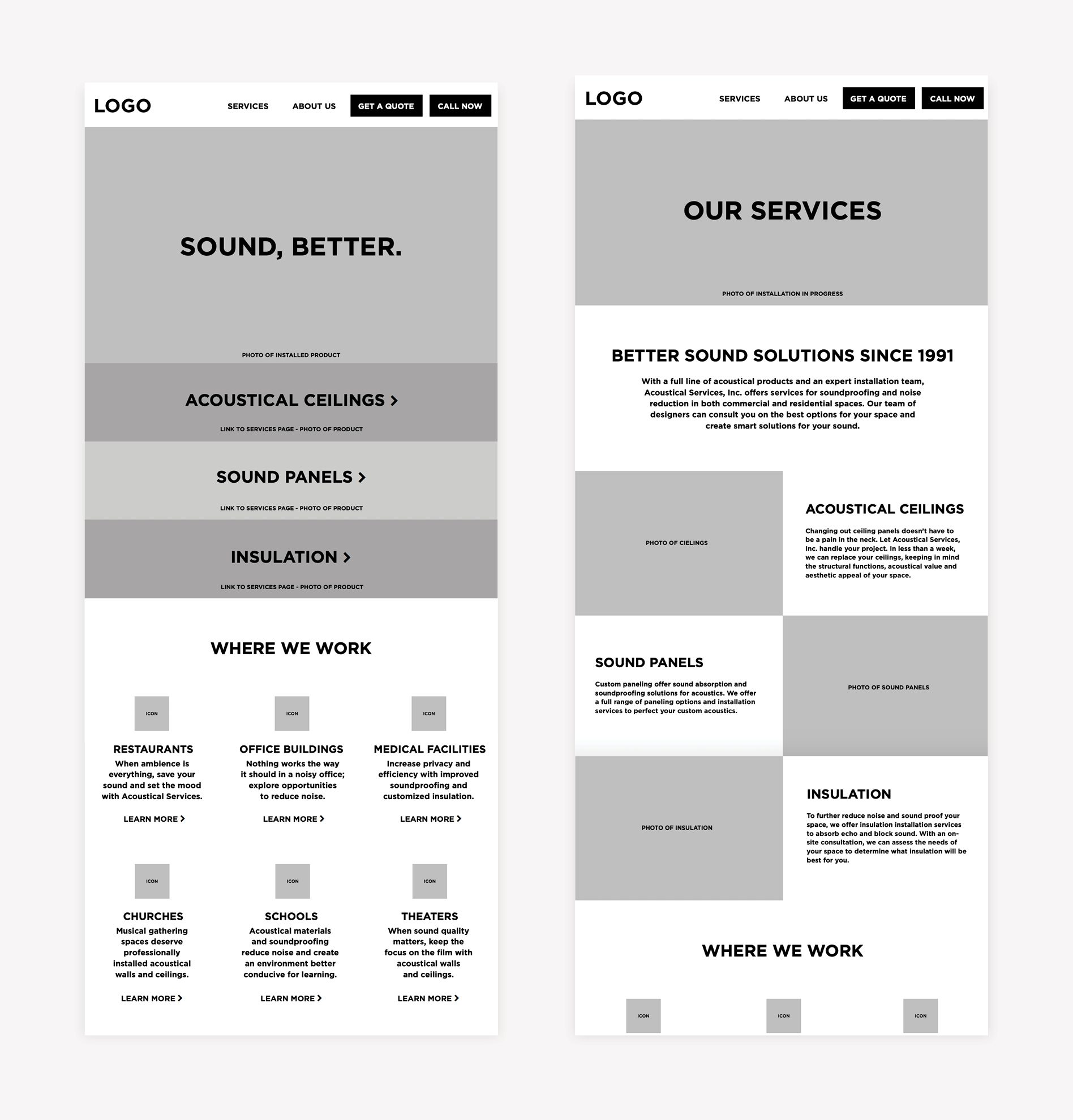 website wireframe, corporate rebrand, acoustical services