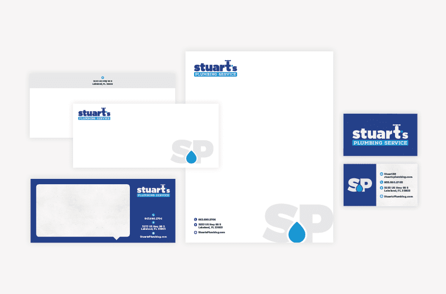 Stuart's Plumbing Business Stationery Design By Nice Branding Agency